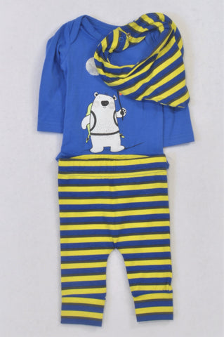 New Woolworths Blue & Yellow Astronaut Bear Outfit Boys 0-3 months