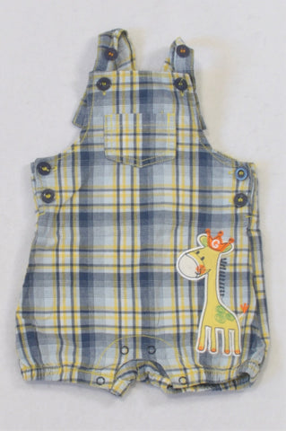 Ackermans Yellow & Navy Plaid Giraffe Dungarees Boys 3-6 months