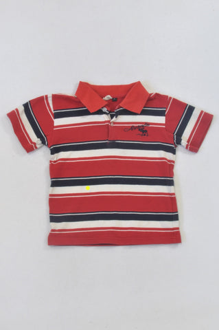 Abercrombie Red & Navy Stripe Golf T-shirt Boys 4-5 years