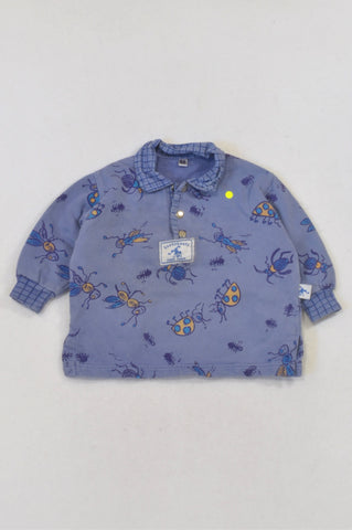 Bossyboots Dusty Blue Creepy Crawly Henley Top Boys 3-6 months