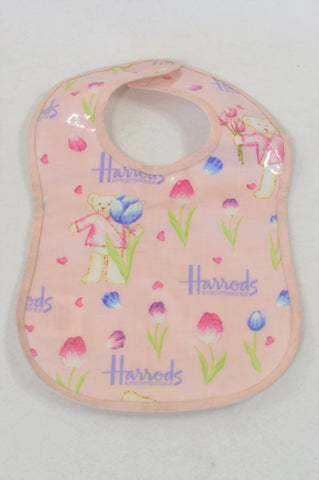 Harrods Pink Tulip Bear Bib Girls N-B to 2 years