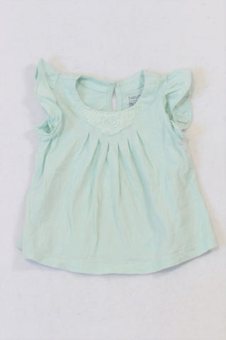 GAP Mint Gathered Neckline Flutter Tank Top Girls 3-6 months