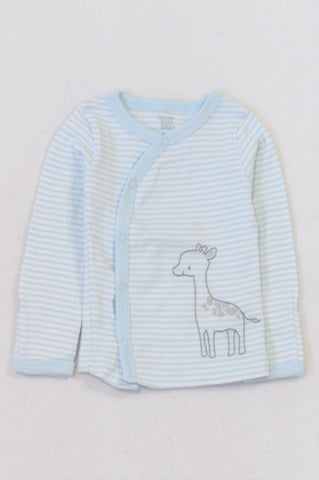 Carter's Blue Striped Giraffe Kimono Snap Cardigan Boys 3-6 months
