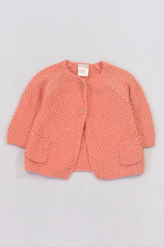 Seed Coral Sparkle Knit Cardigan Girls 3-6 months