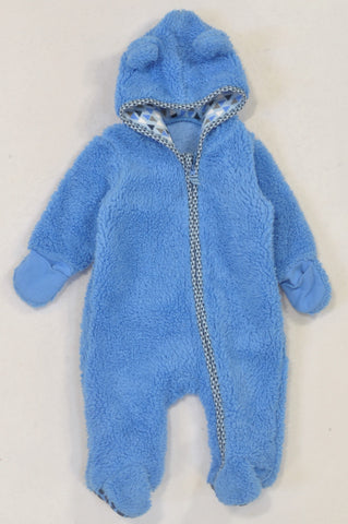 Woolworths Blue Fleece Triangle Onesie Boys 0-3 months