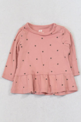 H&M Dusty Pink Star Organic Cotton Top Girls 4-6 months