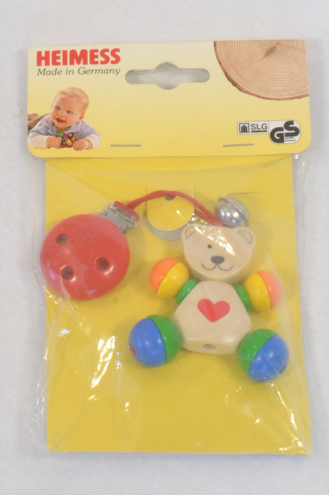 New Heimess Multi Colour Bear Dummy Clip Unisex N-B to 2 years