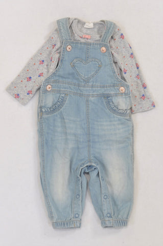H&M Grey Floral Denim Dungaree Outfit Girls 2-4 months