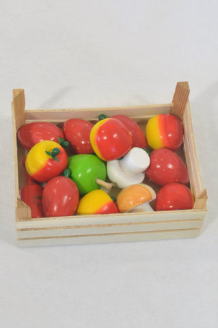 New Wooden Mixed Fruit & Veg Basket Toy Unisex 3-7 years