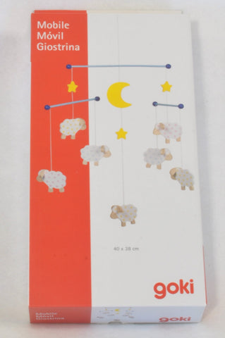 New Goki Wooden Dotty Sheep Hanging Mobile Decor Unisex N-B to 2 years