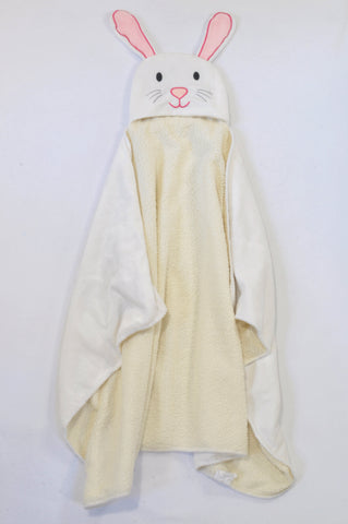 Yeah Baby White Fleece Hooded Bunny Blanket Girls 1-3 years