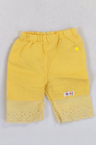 7 Ounce Yellow Lightweight Eyelet Trim Pants Girls 3-6 months