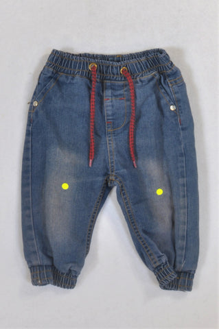 Ackermans Red Drawstring Cuffed Jeans Boys 6-12 months