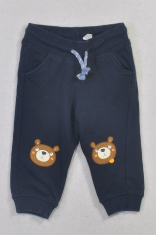 H&M Navy Bear Knees Track Pants Boys 6-9 months