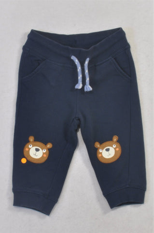 H&M Navy Bear Knee Patch Track Pants Boys 6-9 months