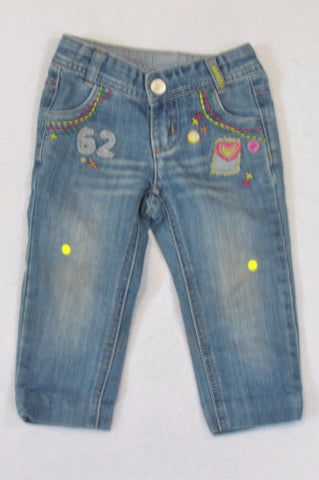 Woolworths Stone Washed Embroidered Jeans Girls 18-24 months
