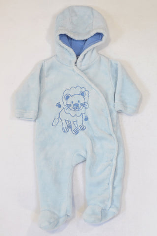Ackermans Soft Blue Lion Fleece Onesie Boys 0-3 months