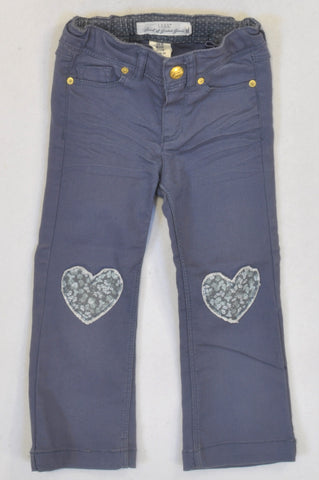 H&M Purple Patch Heart Jeans Girls 2-3 years