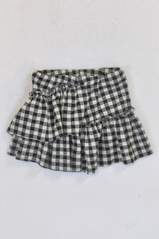 Zara Black & White Checkered Skirt Girls 1-2 years