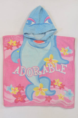 Multi Color Adorable Dolphin Hooded Towel Girls 2-6 years