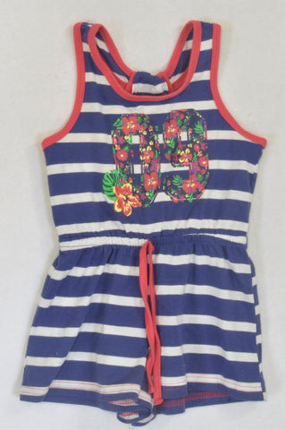 QTee Blue Stripe Floral Romper Girls 3-4 years