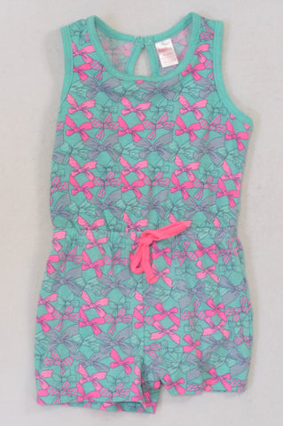Bodyline Aqua Pink Bow Romper Girls 3-4 years