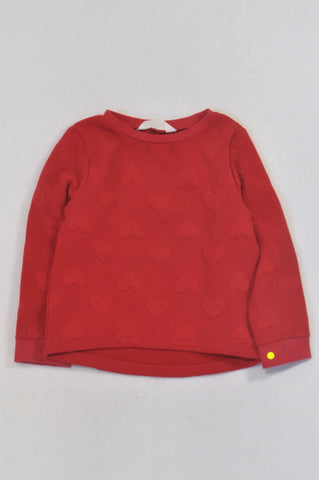 H&M Red Heart Textured Top Girls 2-4 years