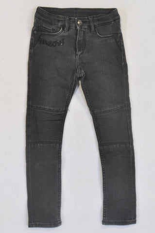 H&M Black Pleather Detail Skinny Jeans Girls 4-5 years