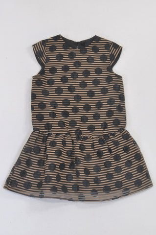 Next Black & Neutral Dotty & Stripe Peplum Dress Girls 5-6 years