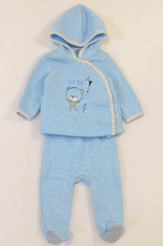 Woolworths Blue Knit Fuzz Bear Outfit Boys 3-6 months