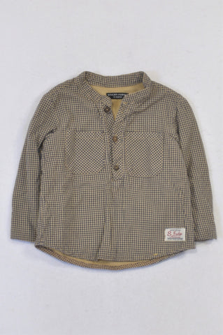 Sticky Fudge Beige & Navy Gingham Lined Shirt Boys 12-18 months