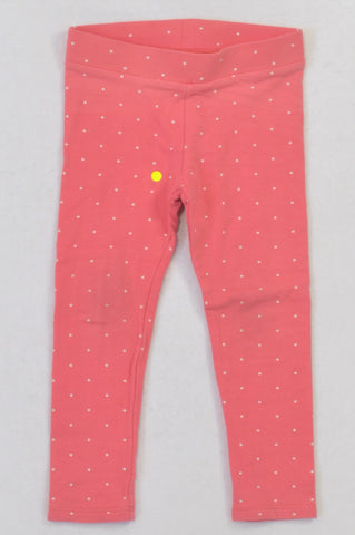 H&M Pink Dotty Banded Leggings Girls 2-3 years