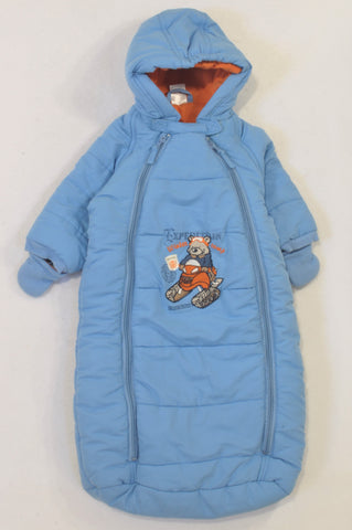 Mother's Choice Blue Lined Winter Sleep Sack Boys N-B to 6 months