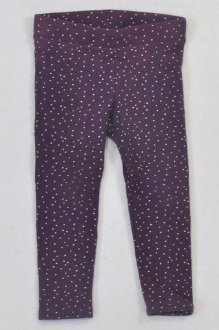 H&M Purple Dotty Banded Leggings Girls 2-3 years