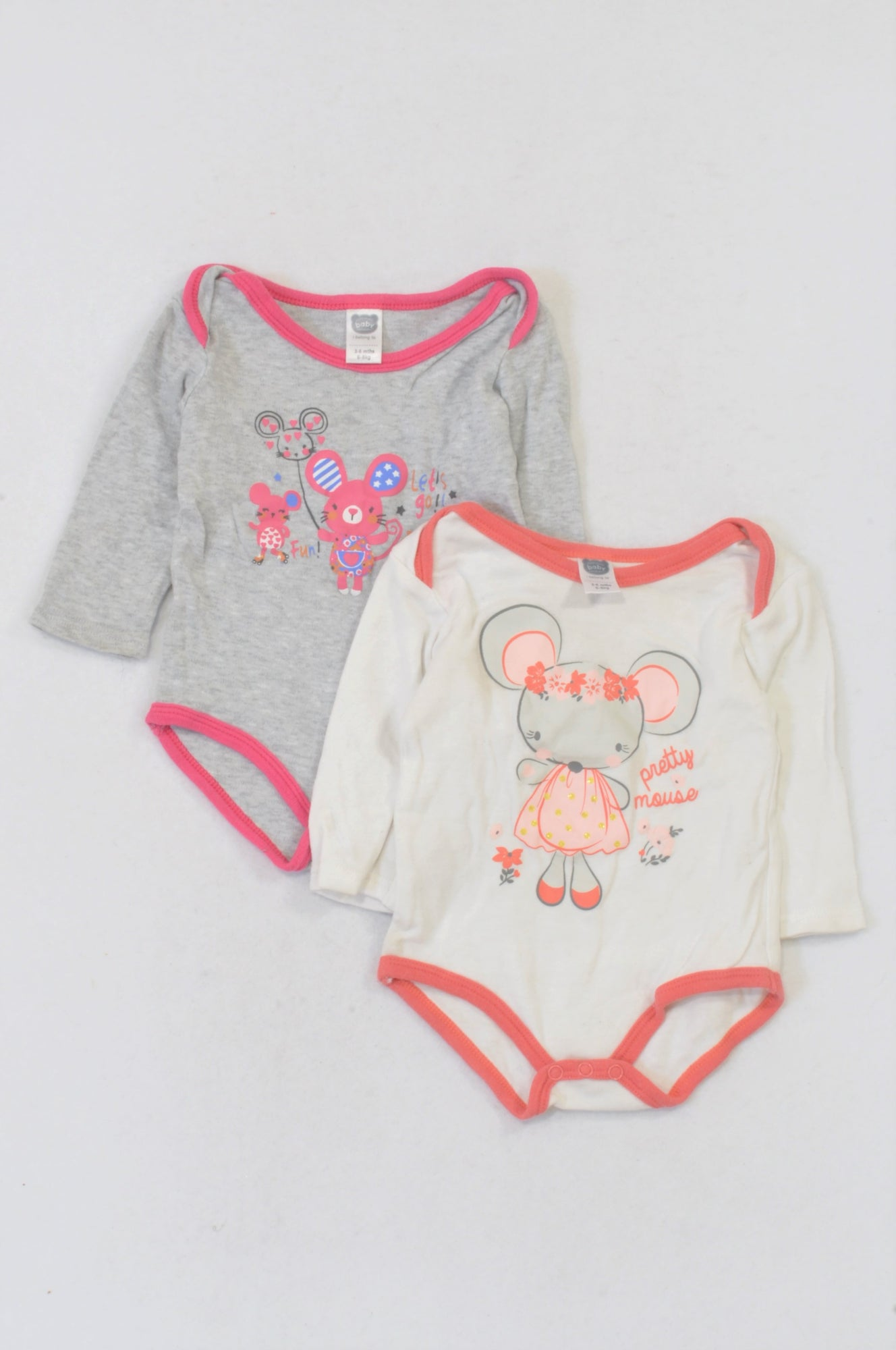 059d1c940 Ackermans 2 Pack Mouse Baby Grows Girls 3-6 months – Once More