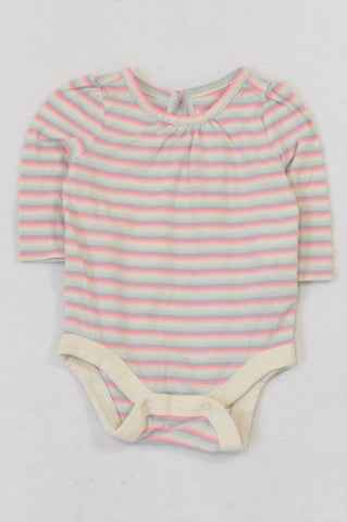 GAP Pink & Grey Stripe Baby Grow Girls 0-3 months