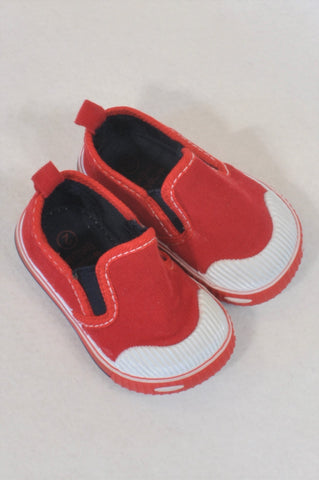 Woolworths Size 2 Red Corduroy Slip On Shoes Boys 6-9 months