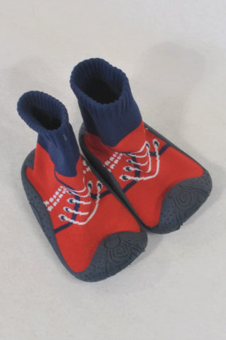 Red & Navy Sneaker Sock Shoes Boys 12-18 months