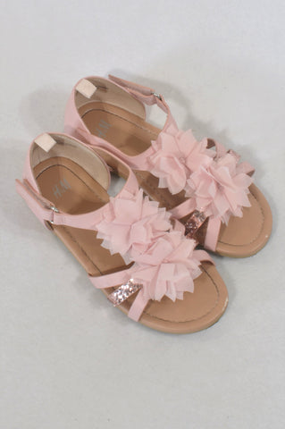 H&M Size 10 Rose Gold Flower Shoes Girls 4-5 years
