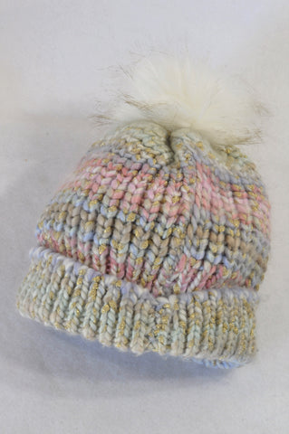 Monsoon Multi Sparkle Knit Pom Pom Beanie Girls 7-14 years