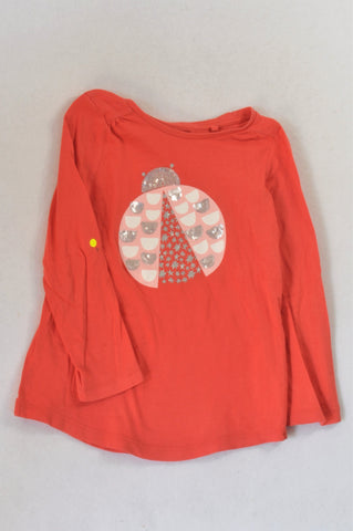 Cotton On Coral Ladybug T-shirt Girls 4-5 years