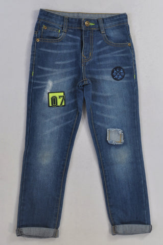 Woolworths Blue Distressed Patchwork Jeans Boys 6-7 years