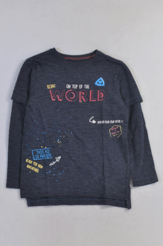 Woolworths Navy On Top Of The World T-shirt Boys 7-8 years