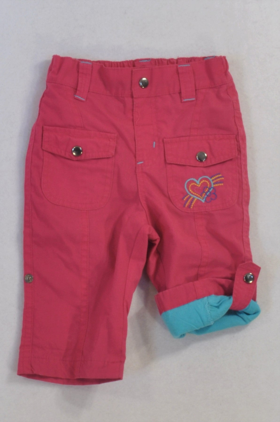 Woolworths Cerise Pink Blue Lined Heart Roll-Up Pants Girls 3-6 months