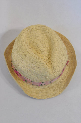QTee Floral Trim Straw Hat Girls 2-6 years