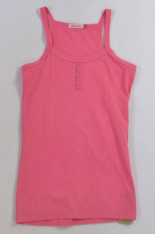 Destiny Pink Button Detail Tank Top Girls 11-12 years
