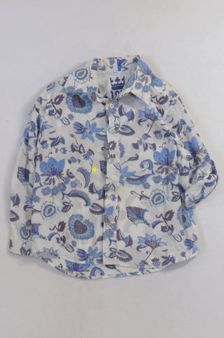 Next White & Blue Floral Roll Up Collared Shirt Boys 5-6 years