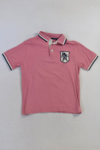 Woolworths Pink Navy Trim Atlantic Crew Golf T-shirt Boys 6-7 years