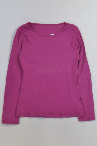 Woolworths Basic Magenta Long Sleeved T-shirt Girls 11-12 years