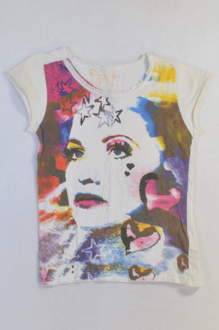 YD White Watercolor Face T-shirt Girls 10-11 years